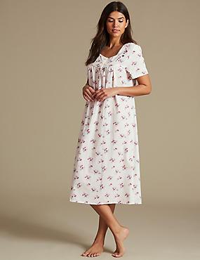 Ditsy Floral Print Short Sleeve Nightdress, CREAM MIX, catlanding