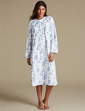 Fleece Floral Print Long Sleeve Nightdress, BLUE MIX, catlanding