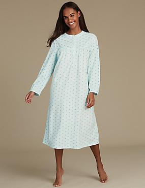Fleece Spotted Nightdress, AQUA MIX, catlanding