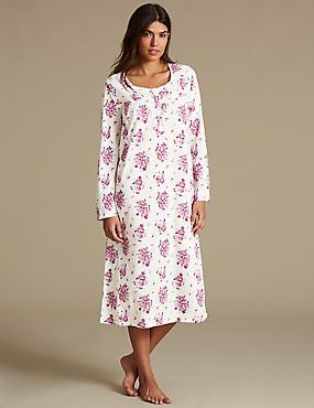 Cotton Rich Floral Print Nightdress, CREAM MIX, catlanding