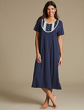 Cotton Rich Geometric Print Short Sleeve Nightdress, NAVY MIX, catlanding