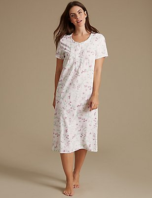 Cotton Blend Floral Print Nightdress, PINK MIX, catlanding