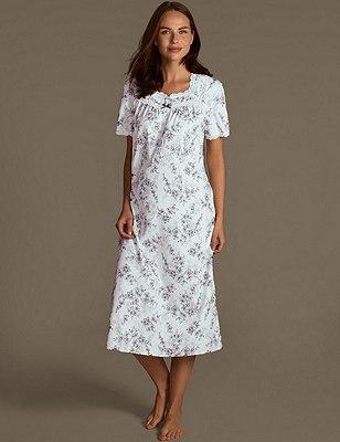 Short Sleeve Floral Nightdress, BLUE MIX, catlanding