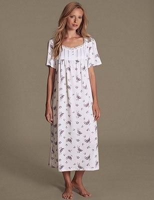Short Sleeve Floral Slinky Nightdress, LILAC MIX, catlanding