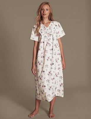 Short Sleeve Floral & Bird Print Nightdress, PINK MIX, catlanding