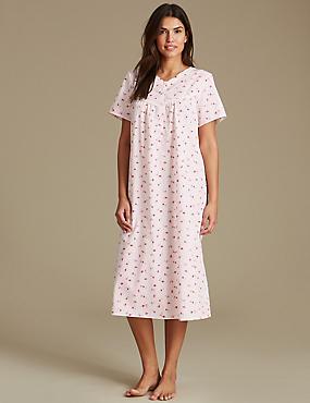 Floral Print Short Sleeve Nightdress, PINK MIX, catlanding