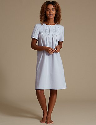 Embroidered Daisy Yoke Nightdress, BLUE, catlanding
