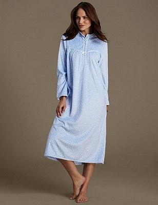 Spotted Fleece Nightdress, BLUE MIX, catlanding