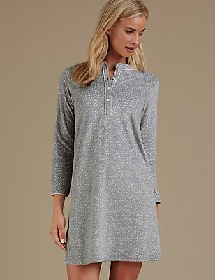 Long Sleeve Printed Nightdress, GREY MIX, catlanding