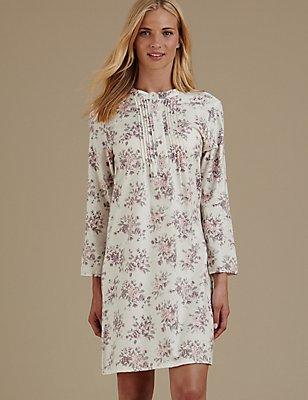 Pure Cotton Floral Print Nightdress, CREAM MIX, catlanding