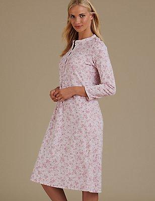Floral Print Nightdress, PINK MIX, catlanding