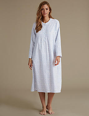 Pure Cotton Ditsy Print Nightdress, BLUE MIX, catlanding