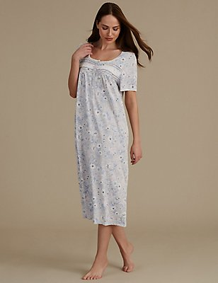Lily Print Short Sleeve Long Nightdress, GREY MIX, catlanding
