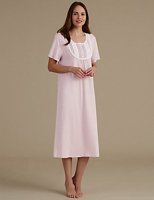 Crochet Trim Printed Jersey Nightdress, PINK MIX, catlanding