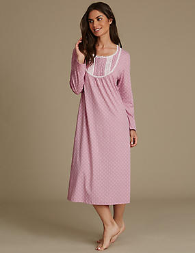 Cotton Rich Geometric Print Nightdress, PINK MIX, catlanding