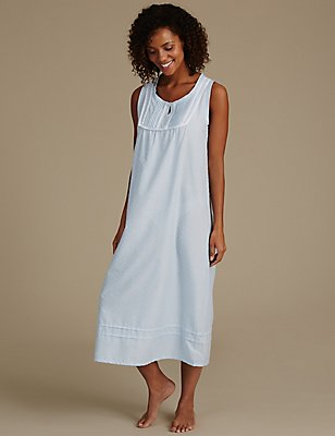 Dobby Built-up Shoulder Nightdress, BLUE MIX, catlanding