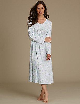 Cotton Rich Floral Print Pintuck Nightdress, SOFT BLUE, catlanding