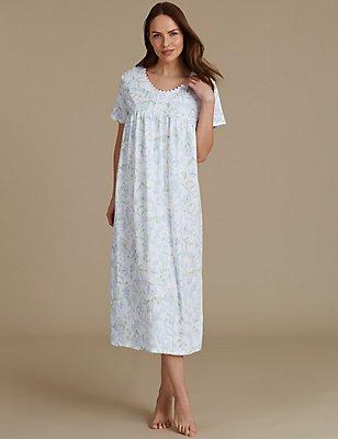 Floral Print Short Sleeve Nightdress, BLUE MIX, catlanding