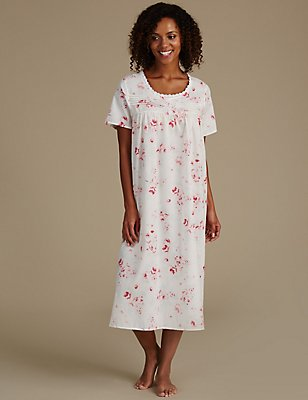 Cotton Blend Printed Pintuck Nightdress, PINK MIX, catlanding