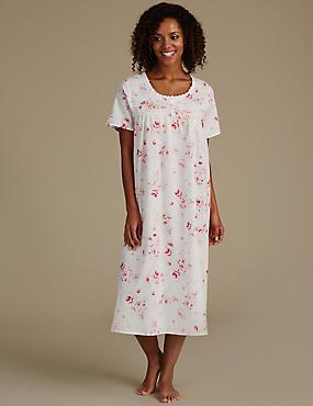 Cotton Blend Printed Pintuck Nightdress, PINK MIX, catlanding