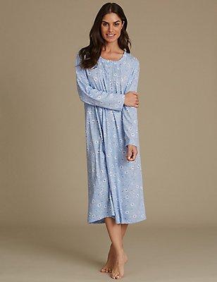 Cotton Rich Floral Print Nightdress, BLUE MIX, catlanding