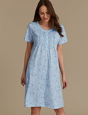 Floral Print Short Sleeve Nightdress, BLUE MIX, catlanding