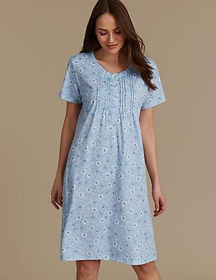 Nachthemd met korte mouwen en bloemenprint, BLAUW MIX, catlanding