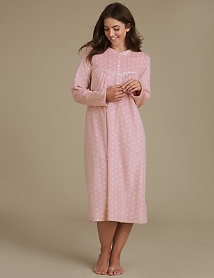 Fleece Spotted Nightdress, PINK MIX, catlanding