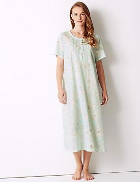 Floral Print Nightdress, AQUA MIX, catlanding