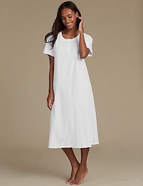 Cotton Rich Short Sleeve Nightdress, WHITE MIX, catlanding