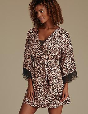 Animal Print Satin Wrap Dressing Gown, NEUTRAL, catlanding