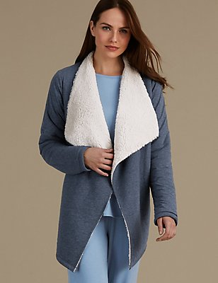 Cotton Rich Jersey Waterfall Wrap, DENIM, catlanding
