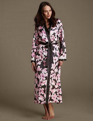 Satin Floral Belted Wrap, BLACK MIX, catlanding