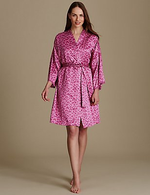 Satin Long Sleeve Dressing Gown, MAGENTA, catlanding