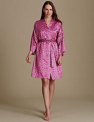 Satin Long Sleeve Dressing Gown, MAGENTA, catlanding
