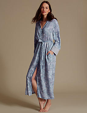 Pure Modal Printed Dressing Gown, LIGHT BLUE MIX, catlanding