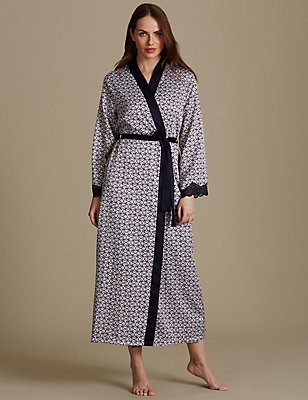 Geometric Print Dressing Gown , NAVY MIX, catlanding