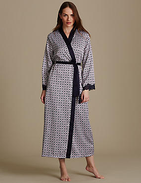 Geometric Print Dressing Gown , NAVY MIX, catlanding