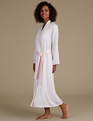 Satin Geometric Print Wrap Dressing Gown, PINK MIX, catlanding
