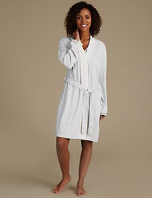 Modal Blend Crochet Trim Dressing Gown, GREY MIX, catlanding