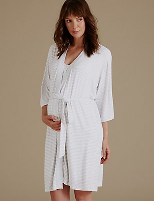 Maternity Striped Short Dressing Gown, GREY MIX, catlanding