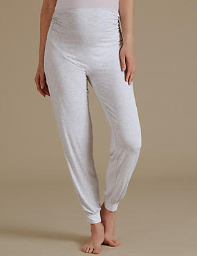 Maternity Cuffed Hem Long Pyjama Bottoms, GREY MIX, catlanding