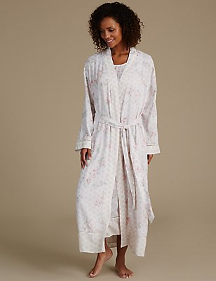 Pure Modal Woven Printed Dressing Gown, CREAM MIX, catlanding