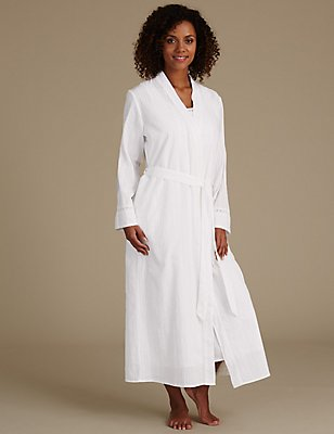 Pure Cotton Embroidered Dressing Gown, WHITE MIX, catlanding