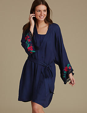 Modal Blend Embroidered Dressing Gown, NAVY MIX, catlanding
