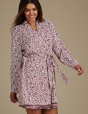 Folk Print Dressing Gown, RED MIX, catlanding