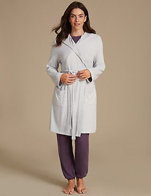 Hooded Long Sleeve Dressing Gown, GREY MIX, catlanding