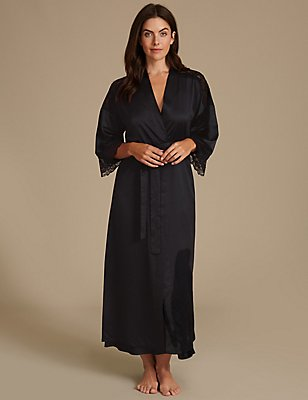 Satin Wrap Dressing Gown, BLACK MIX, catlanding