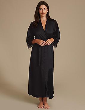 Satin Wrap Dressing Gown, BLACK MIX, catlanding