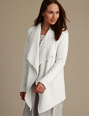 Jersey Waterfall Wrap Dressing Gown, GREY MIX, catlanding
